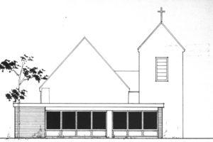 Kirche (hinten) mit Anbau Gemeindehaus (vorne), Ansicht von Süden, 1974, Grafik, Entwurf Anbau Gemeindehaus