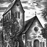 Kirche, Außenansicht, um 1955, Schnitt von A. D.