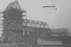 Kirche im Bau, Ansicht von Südwesten, vor 1956