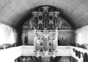 Kirche, Blick zur Orgel, vermutlich 1950er, bzw. vor 1963