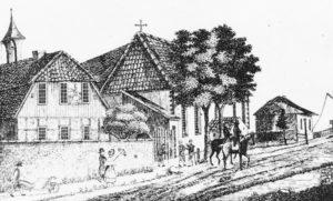Hospital, Kirche, Ansicht von Nordwesten, nach 1658 bzw. 1662, vor 1892, Zeichnung oder Grafik