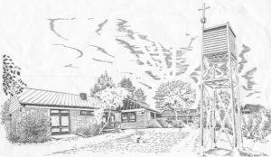 Kirche, Außenansicht, 1989, Zeichnung