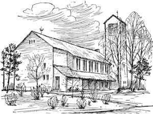 Kirche, Ansicht von Nordosten, Zeichnung
