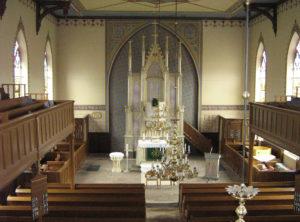 Kirche, Blick zum Altar, Foto: Ernst Günther Behn, Klein Gußborn 2009/10 (gemeinfrei)