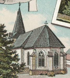 Kirche, Ansicht von Südosten, um 1910, Postkarte (Ausschnitt)