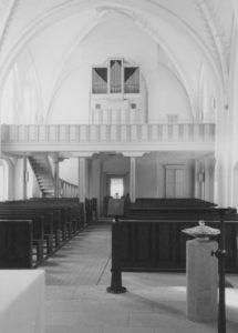 Kirche, Blick zur Orgel, Foto: Ernst Witt, Hannover, August 1965