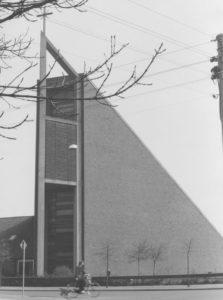Kirche, Ansicht von Südwesten, um 1980