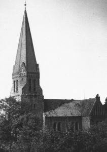 Kirche, Ansicht von Südwesten, um 1960