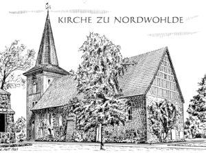 Kirche, Ansicht von Südosten, 1969, Zeichnung von E. Hett