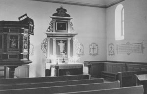 Kirche, Blick zum Altar, Foto: Ernst Witt, Hannover, Juni 1949