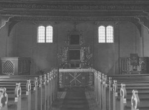 Kirche, Blick zum Altar, Foto: Ernst Witt, Hannover, August 1949