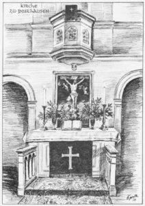 Kanzelaltar, Teilansicht, 1950, Zeichnung von Sindel