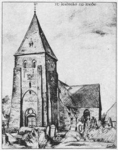 Kirche, Ansicht von Südwesten, Zeichnung von Sindel
