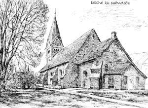 Kirche, Ansicht von Südosten, Zeichnung