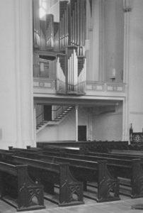 Orgel auf der Nordempore (1968 erbaut), Foto: Ernst Witt, Hannover, August 1969