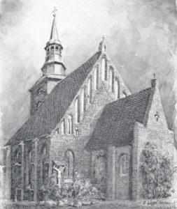Kirche, Ansicht von Südosten, Aquarell (?) von E. Wessel, Verden, Postkarte, nach 1938