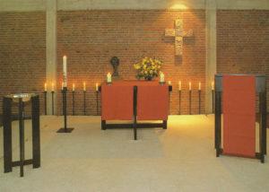Gemeindezentrum, Kirchsaal, Blick zum Altar, 1971