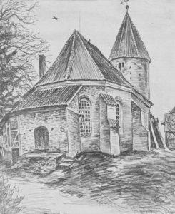 Kirche, Ansicht von Nordosten, 1938, Zeichnung von Sindel
