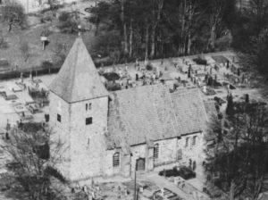 Kirche, Ansicht von Südwesten, Luftbild, 1960