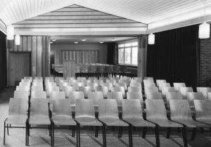 Gemeindehaus, Kirchsaal, Innenansicht, 1968