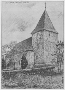 Kirche, Ansicht von Nordwesten, 1954, Zeichnung von Sindel