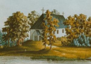 Blaukirchen, ehemalige Kirche, Außenansicht, Gemälde, vor 1846