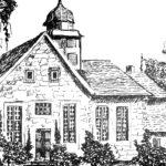 Kirche, Außenansicht, Zeichnung von Ruth Kusch, 1981