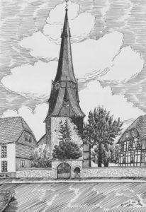 Kirche, Ansicht von Nordwesten, Federzeichnung von Herbert van Dam, 1952