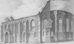 Alte Kirche, Außenansicht, Ruine der abgebrannten Kirche, um 1946, Grafik