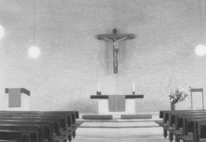 Neue Kirche, Blick zum Altar, Foto: P. Greve, Jöllenbeck (?), um 1974