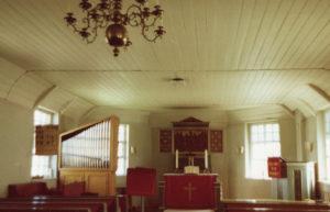 Kirche, Blick zum Altar und zur Orgel, nach 1961