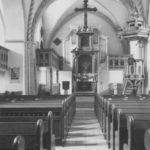 Kirche, Blick zum Altar und zur Orgel, Foto: Ernst Witt, Hannover, 1959