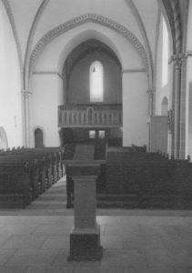 Kirche, Blick zur West-Empore, Foto: Ernst Witt, Hannover, 1959