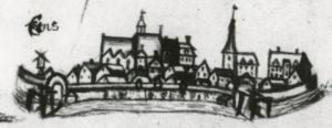 Stadtansicht von Esens, links St.-Magnus-Kirche, alte (mittelalterliche) Kirche, Ansicht von Süden, vor 1847, Landkarte (Ausschnitt)