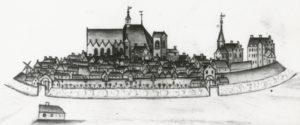 Stadtansicht von Esens, links St.-Magnus-Kirche, alte (mittelalterliche) Kirche, Ansicht von Süden, vor 1847