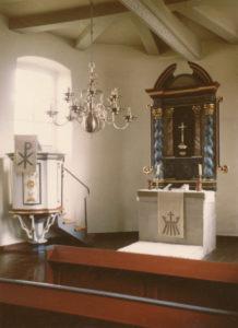 Kirche, Blick zum Altar, Foto: Ernst Witt, Hannover, 1959