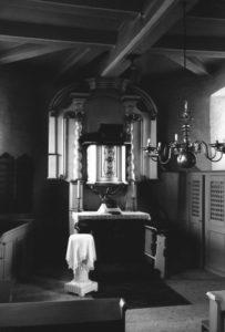 Kirche, Blick zum Kanzelaltar, um 1960, bzw. vor 1958