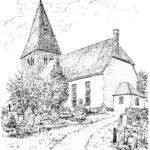 Kirche, Ansicht von Südosten, 1959, Zeichnung von Sindel