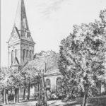 Kirche, Ansicht von Südosten, Zeichnung von Sindel, 1953