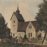 Kirche, Ansicht von Südosten, um 1946, (handkoloriertes SW-Bild)