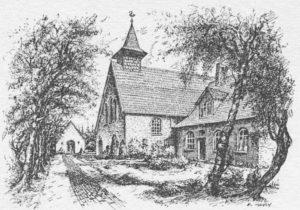 Kirche, Ansicht von Südwesten, um 1957, Grafik