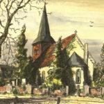 Kirche, Ansicht von Südosten, um 1948, kolorierte Zeichnung
