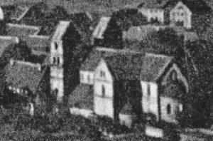 Kirche, Ansicht von Südosten, Luftbild, 1935
