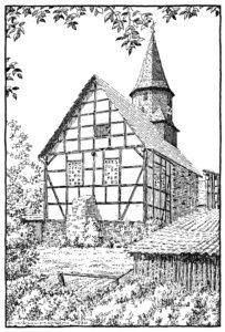Kirche, Ansicht von Nordosten, 1970, Zeichnung von E. Kühlhorn