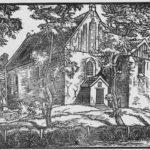 Kirche, Ansicht von Nordwesten, um 1955, Holzschnitt von A. D.